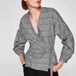 ZARA | Glen Plaid Wrap Blouse
